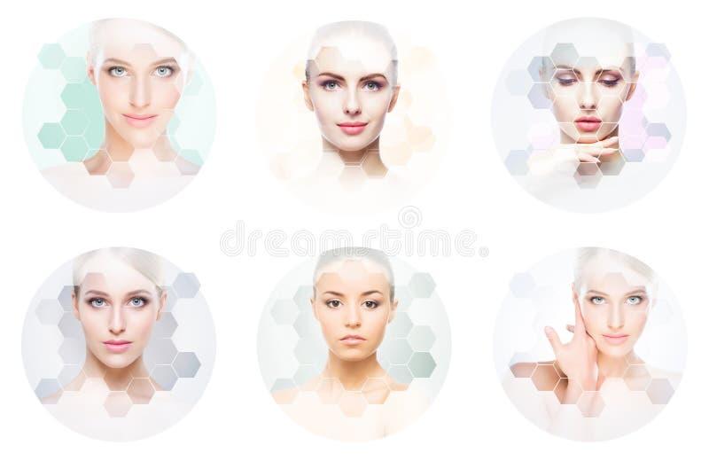 Mooi gezicht van jong en gezond meisje in collage Plastische chirurgie, huidzorg, schoonheidsmiddelen en gezicht het opheffen con royalty-vrije stock afbeeldingen