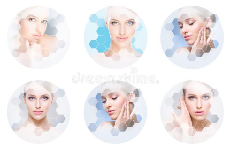 Mooi gezicht van jong en gezond meisje in collage Plastische chirurgie, huidzorg, schoonheidsmiddelen en gezicht het opheffen con stock foto