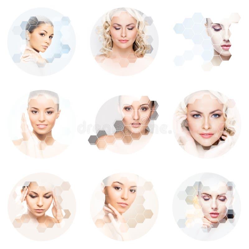 Mooi gezicht van jong en gezond meisje in collage Plastische chirurgie, huidzorg, schoonheidsmiddelen en gezicht het opheffen con royalty-vrije stock fotografie