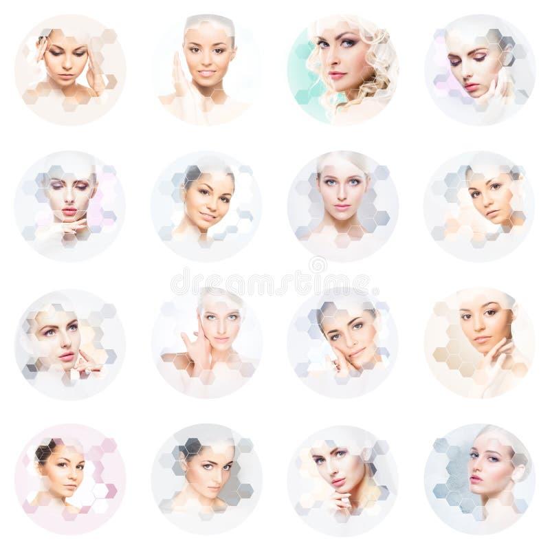 Mooi gezicht van jong en gezond meisje in collage Plastische chirurgie, huidzorg, schoonheidsmiddelen en gezicht het opheffen con stock afbeelding