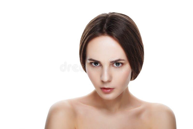 Mooi gezicht van jong ontevredenheidsmeisje met schone verse sk stock afbeelding