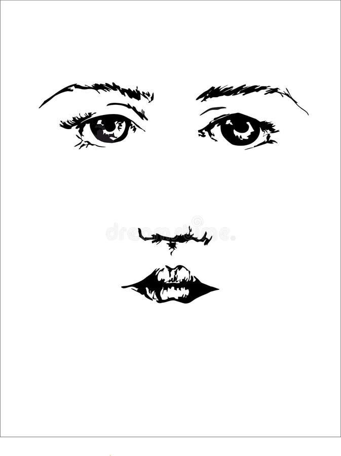 Mooi gezicht van jong wijfje met zwarte ogen en wenkbrauwen op de witte achtergrond vector illustratie