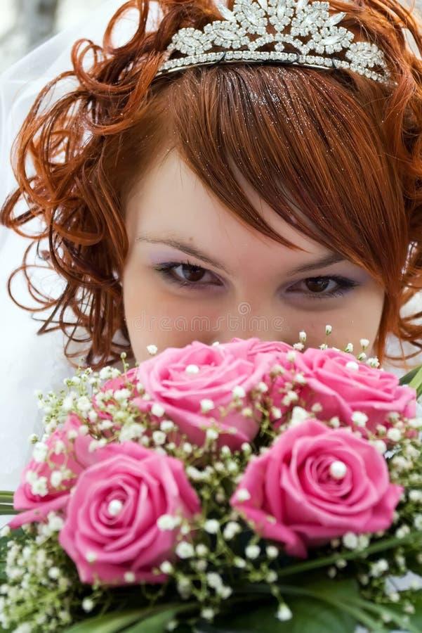Mooi gezicht van jonge bruid stock fotografie