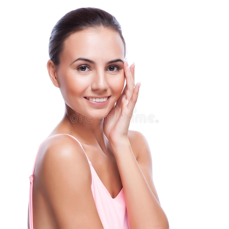 Mooi gezicht van jonge volwassen vrouw met schone verse huid royalty-vrije stock afbeelding