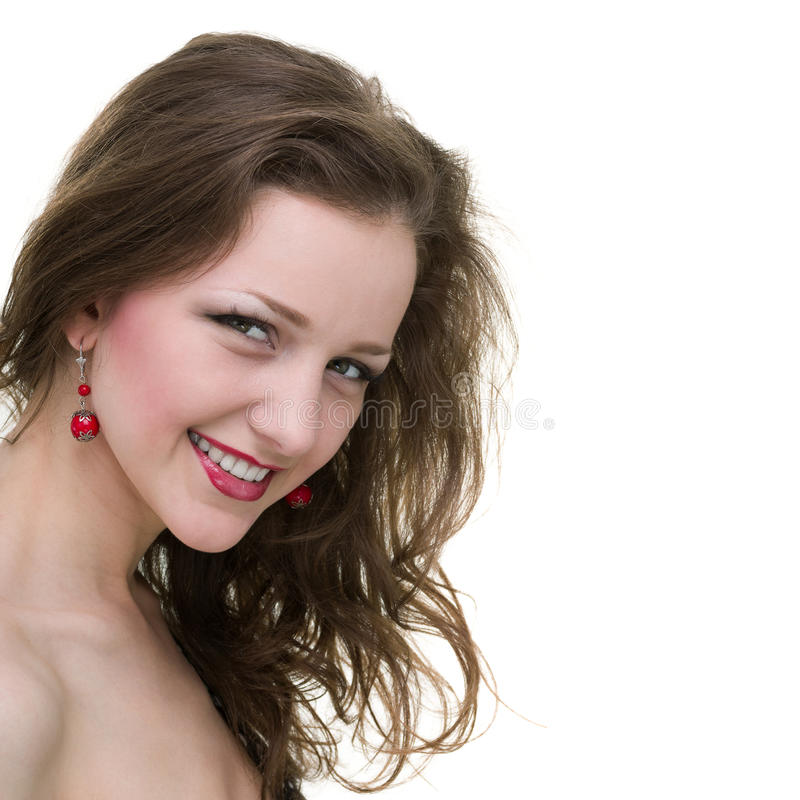Mooi Gezicht van Jonge Vrouwen dichte die omhooggaand, op witte achtergrond wordt geïsoleerd stock foto's
