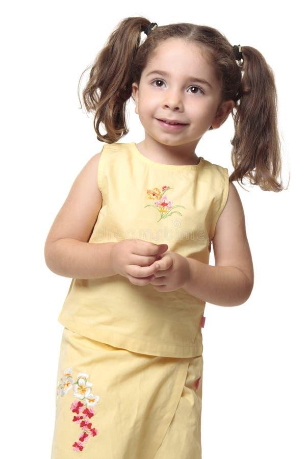 Mooi glimlachend meisje met paardestaarten stock afbeelding