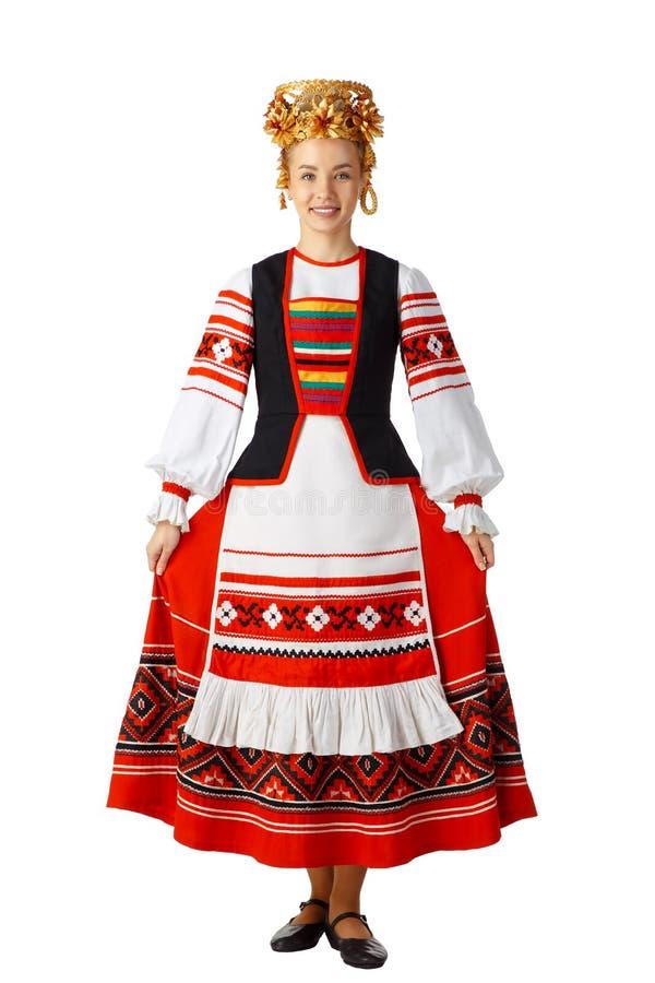 Mooi glimlachend meisje in Witrussisch nationaal kostuum stock afbeelding