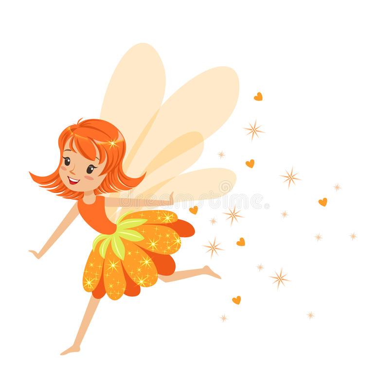 Mooi glimlachend oranje Feemeisje die de kleurrijke vectorillustratie van het beeldverhaalkarakter vliegen stock illustratie