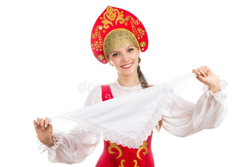 Mooi glimlachend Russisch meisje in volkskostuum royalty-vrije stock foto