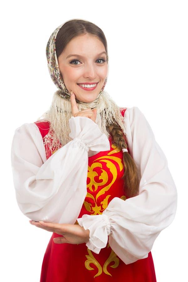 Mooi glimlachend Russisch meisje in volkskostuum stock foto's