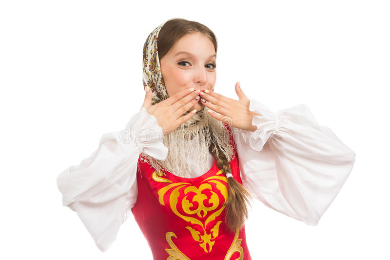 Mooi glimlachend Russisch meisje in volkskostuum royalty-vrije stock afbeeldingen