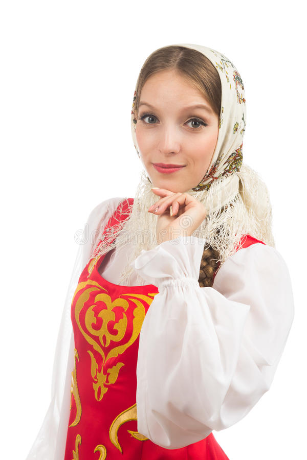 Mooi glimlachend Russisch meisje in volkskostuum stock fotografie