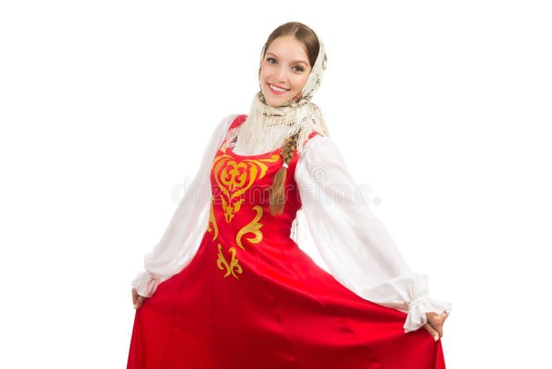 Mooi glimlachend Russisch meisje in volkskostuum stock afbeeldingen