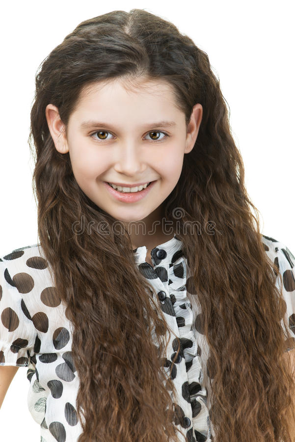 Mooi glimlachend schoolmeisje royalty-vrije stock foto