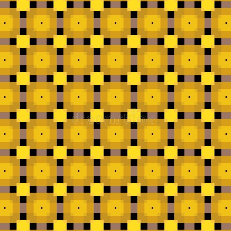 Mooi gouden gekleurd vierkant en zwart lijnen vectorpatroon met transprencygevolgen vector illustratie