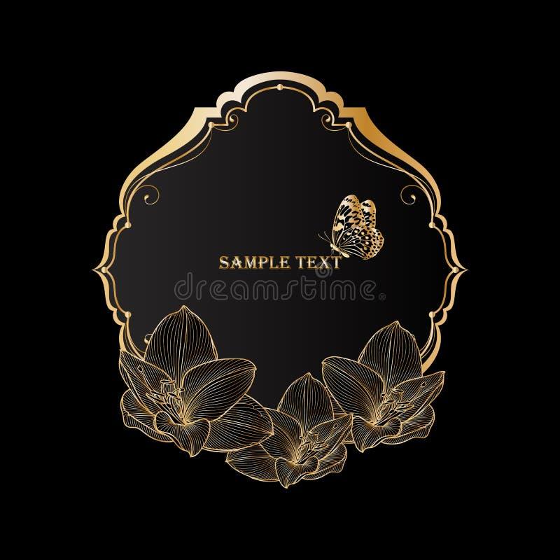 Mooi gouden uitstekend bloemenkader met bloemamaryllis en vlinder stock fotografie