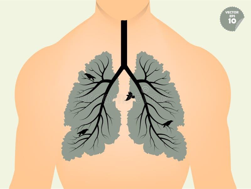 Mooi grafisch ontwerpconcept longen zoals de tak van boom en blad vector illustratie