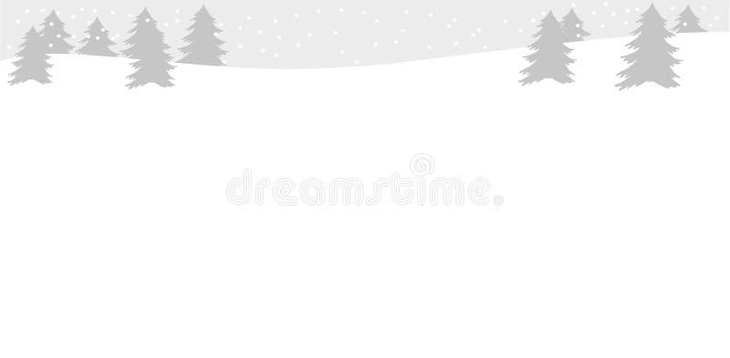 Mooi grijs landschap met Kerstbomen, snowbank en sneeuw vector illustratie