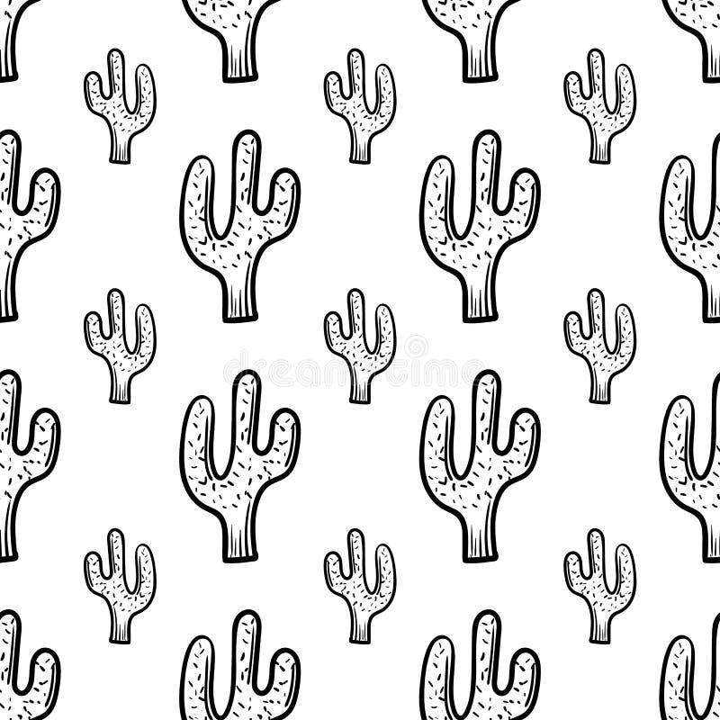 Mooi hand getrokken de cactuspictogram van het manier naadloos patroon Hand getrokken zwarte schets Teken/symbool/krabbel Ge?sole vector illustratie