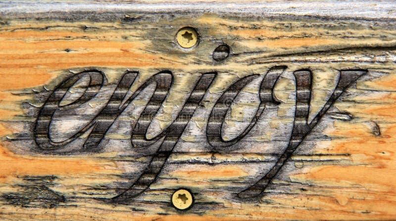 Mooi handcarved teken met het woord ` genieten van ` die op voorzijde van het wordt gebrand stock foto's