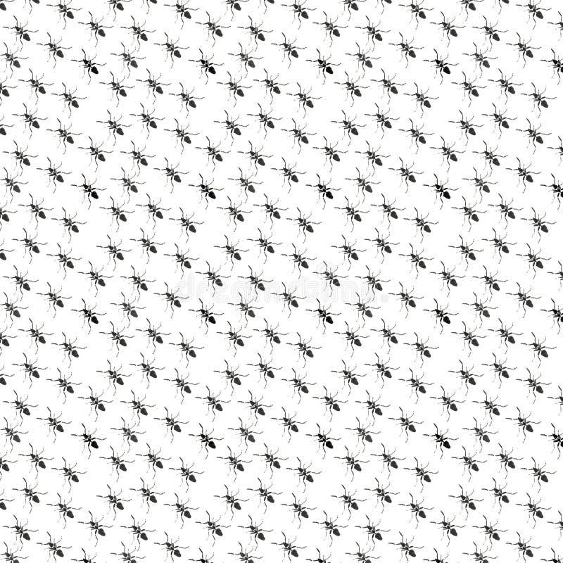 Mooi helder grafisch abstract leuk mooi diagonaal patroon van zwarte mierenwaterverf stock illustratie