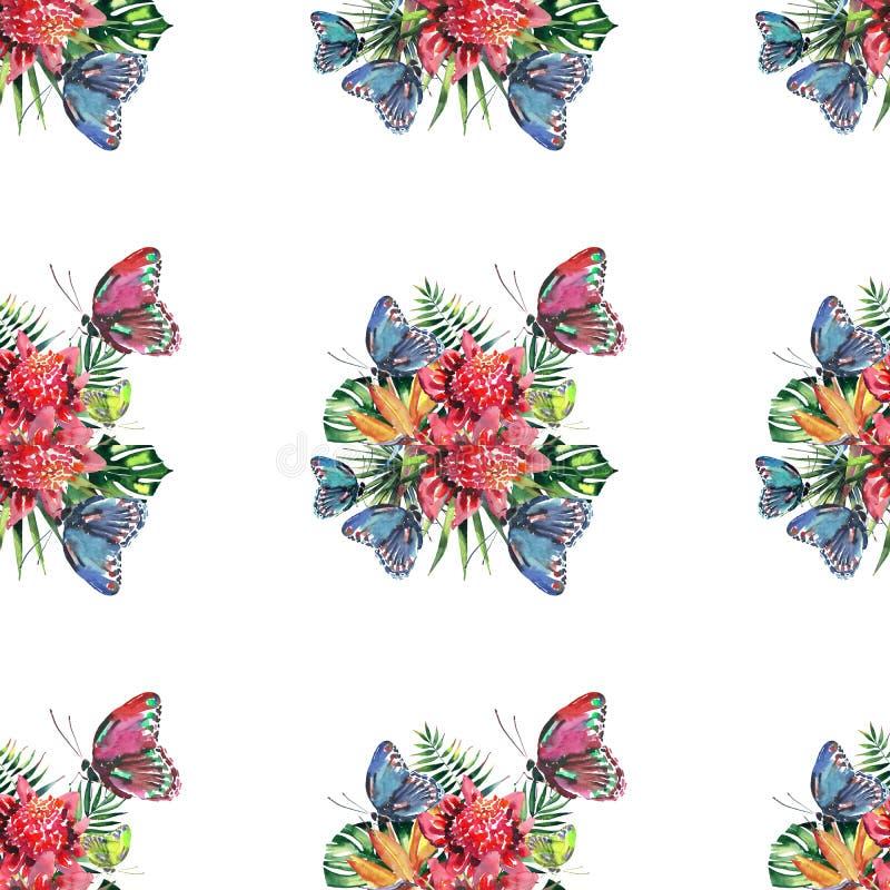 Mooi helder mooi kleurrijk tropisch bloemen kruiden de zomerpatroon van Hawaï van tropische bloemen en rood roze groen geel blauw royalty-vrije illustratie