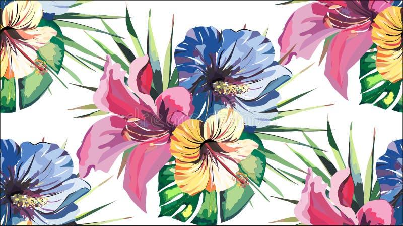 Mooi helder mooi prachtig tropisch bloemen kruiden de zomer kleurrijk naadloos patroon van Hawaï van tropische gele roze blauwe h royalty-vrije illustratie