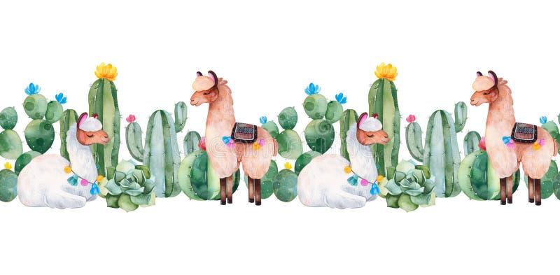 Mooi herhaal grens met groene waterverfcactus, succulents, bloemen en leuke lama's vector illustratie