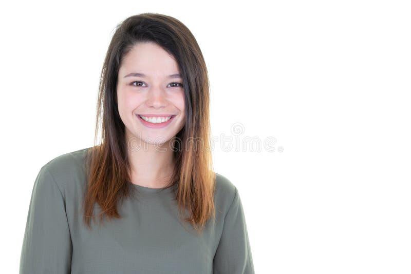 Mooi het glimlachen jong vrouwenportret met lege zijexemplaarruimte royalty-vrije stock afbeeldingen