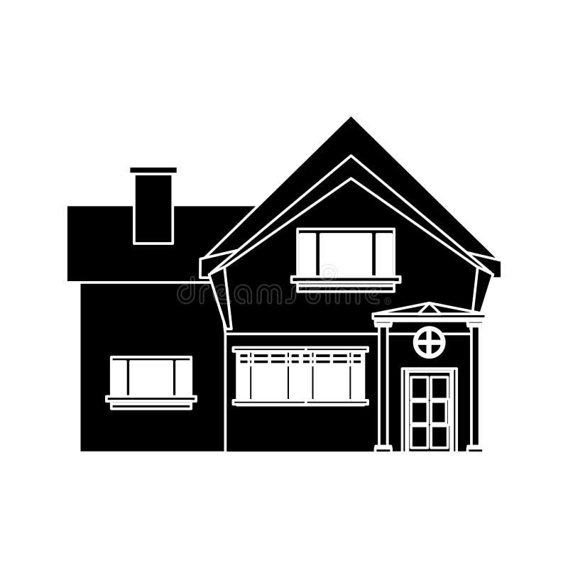 Mooi het vensterpictogram van de huisschoorsteen royalty-vrije illustratie