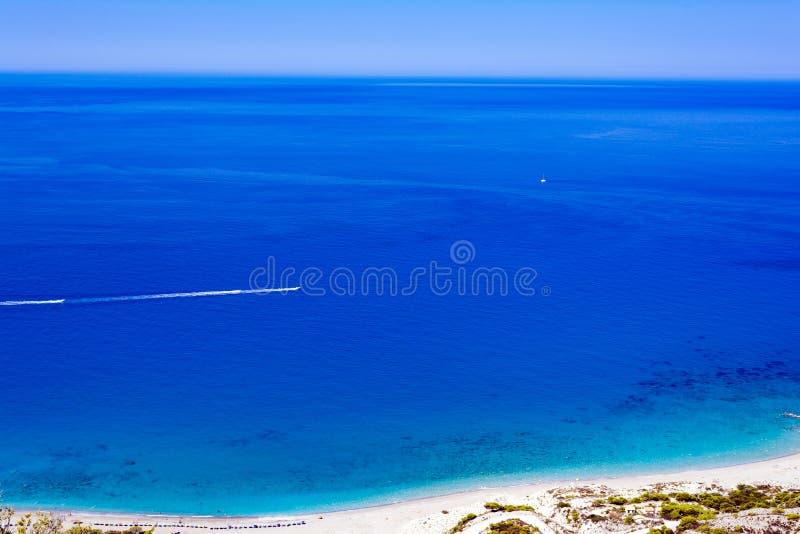 Mooi hoogste meningsstrand bij het eiland van Lefkada in Griekenland royalty-vrije stock fotografie
