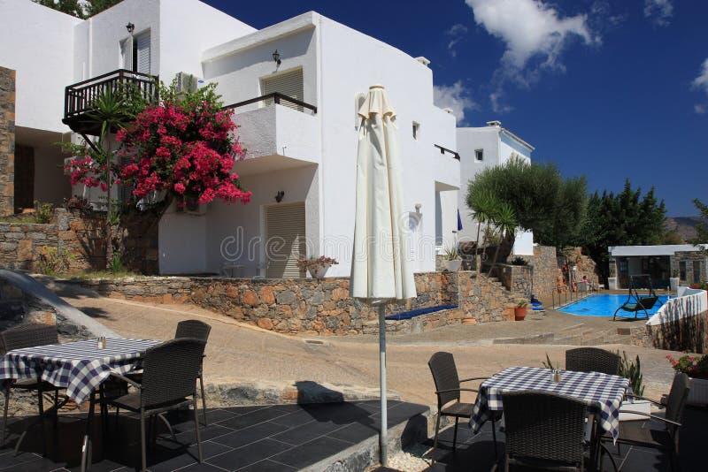 Mooi hotel in Kreta royalty-vrije stock afbeelding