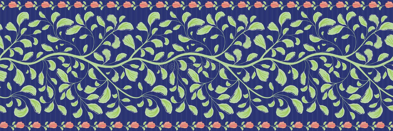 Mooi Indisch bloemengrensontwerp met koraalbloemen en groen gebladerte Naadloos vectorpatroon op gestreept blauw royalty-vrije illustratie