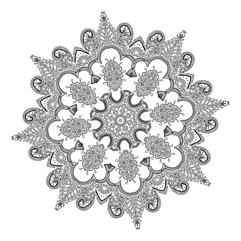 Mooi Indisch bloemenornament mandala royalty-vrije illustratie