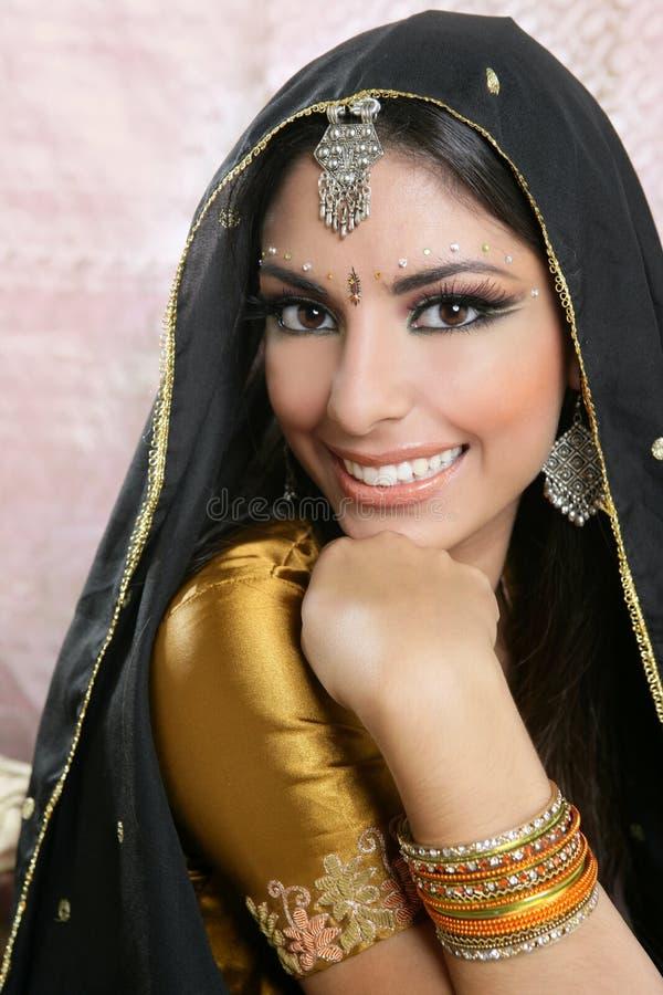 Mooi Indisch donkerbruin vrouwenportret royalty-vrije stock foto's