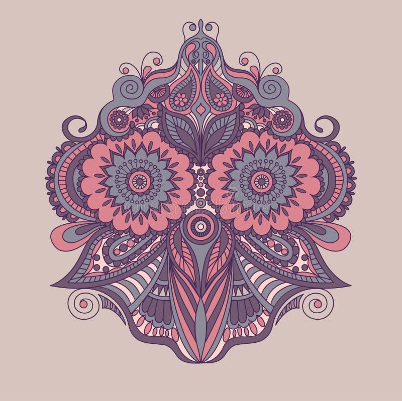 Mooi Indisch etnisch bloemenornament mandala De stijl van de hennatatoegering stock illustratie