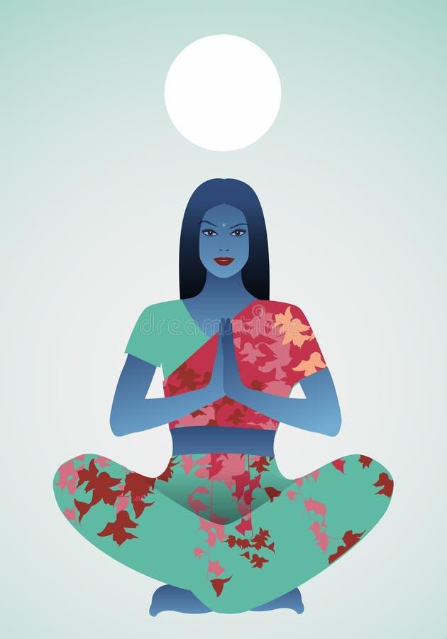 Mooi Indisch meisje die yoga of meditatie doen onder een wit gebied vector illustratie