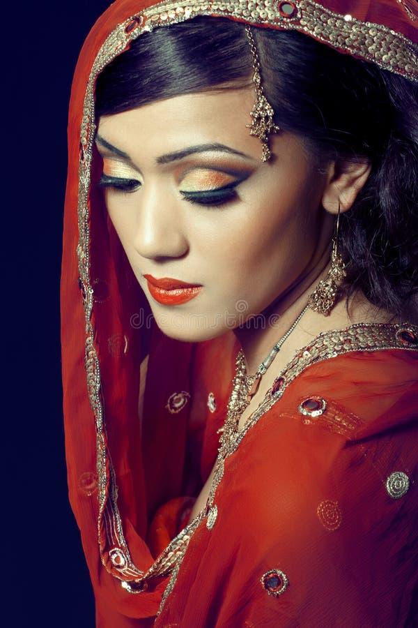 Mooi Indisch meisje met bruids make-up royalty-vrije stock foto