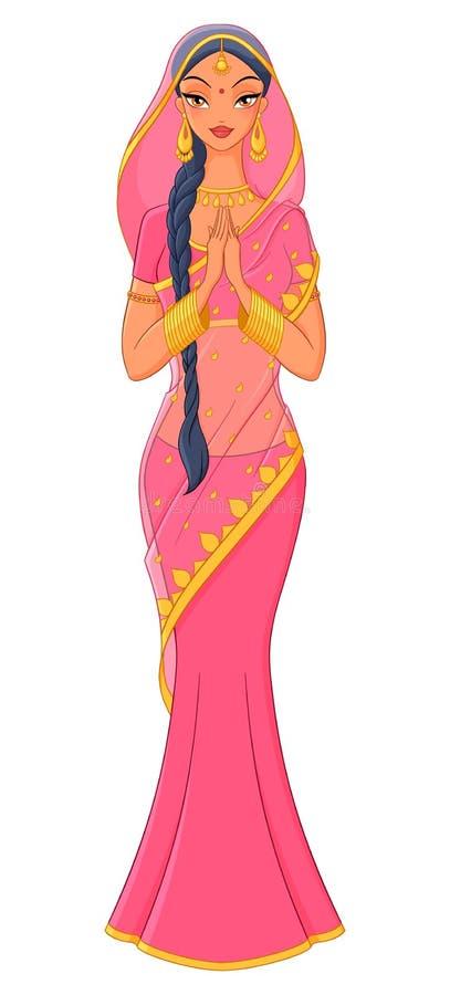 Mooi Indisch meisje in traditionele Sari Vector illustratie royalty-vrije illustratie