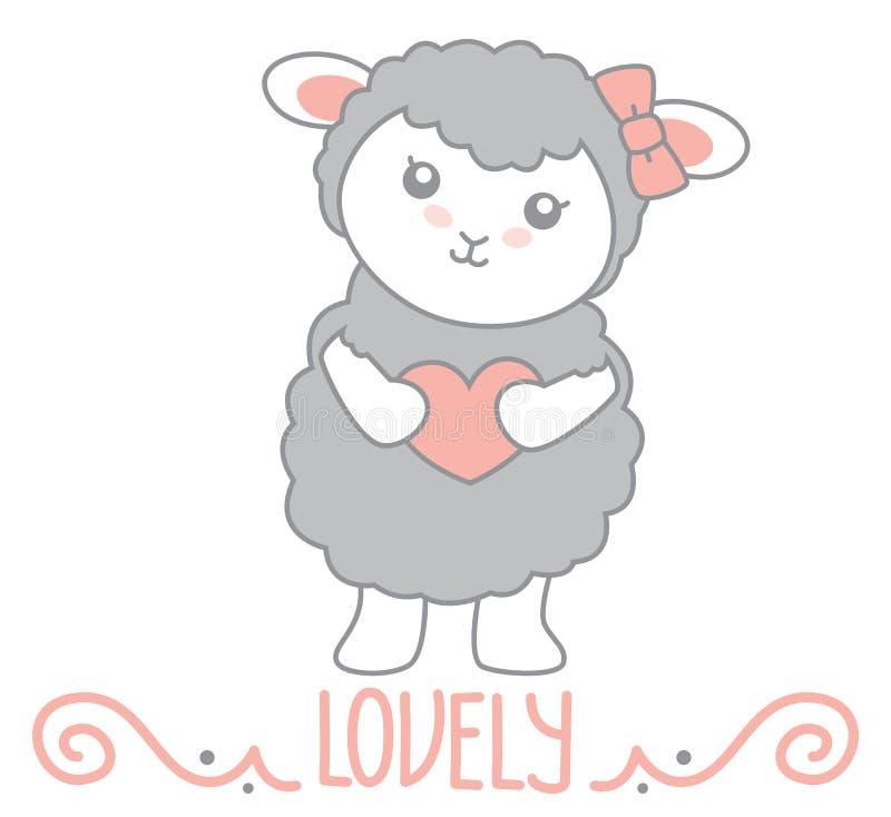 Mooi isoleren Weinig Kawaii-Stijl Gray Sheep Standing en Holdingshart met Wervelingsdecoratie en Mooie Tekst Vectorillustratie royalty-vrije illustratie