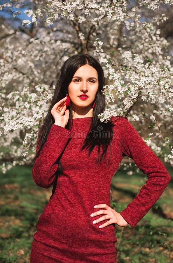 Mooi jong brunette met lang haar in een park op de lente in het midden van bloeiende bomen in een rode kleding royalty-vrije stock foto's