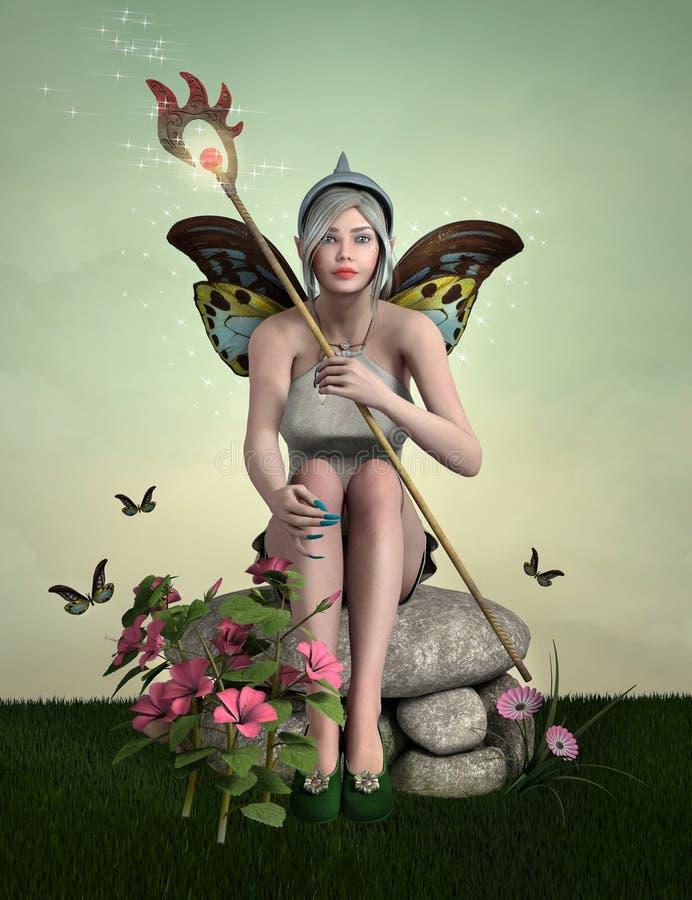 Mooi jong elf met vlindervleugels vector illustratie