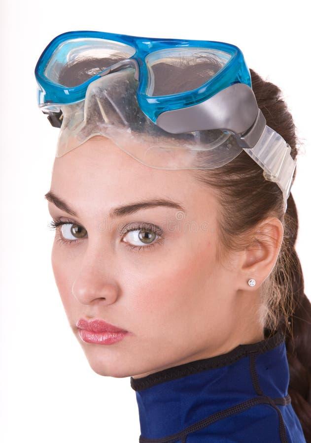 Mooi jong meisje in beschermende brillen. royalty-vrije stock foto