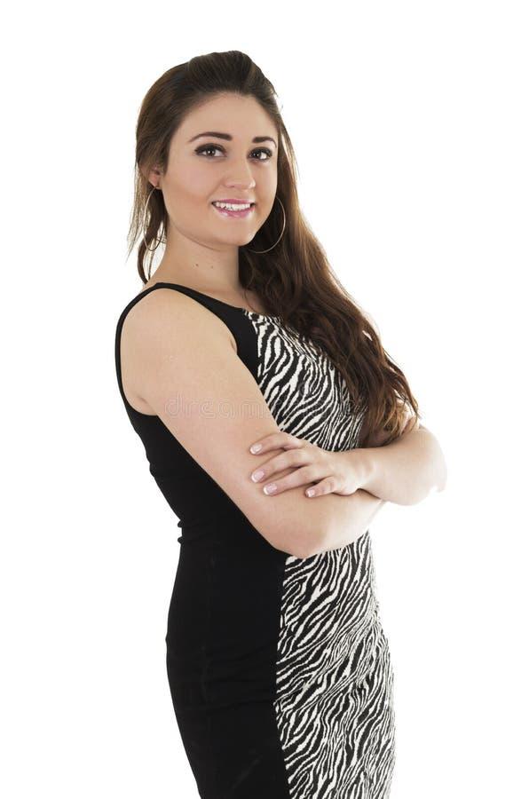 Mooi jong meisje die het zwarte kleding stellen dragen royalty-vrije stock afbeelding