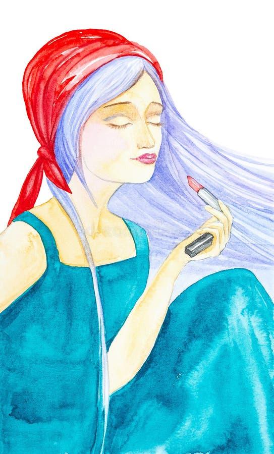 Mooi jong meisje in groene kleding, rode bandana en fladderend lang blauw haar Hij sluit zijn ogen en houdt een rode lippenstift  vector illustratie