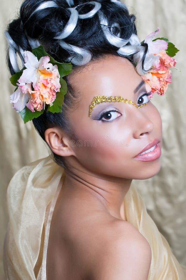 Mooi jong meisje met fantasiemake-up royalty-vrije stock foto