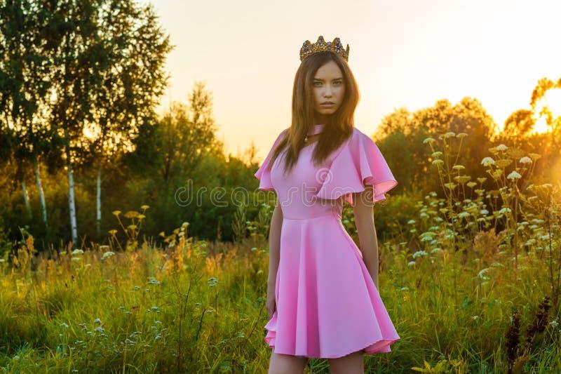 Mooi jong meisje in roze kleding met kroon op hoofd bij zonsondergang stock fotografie