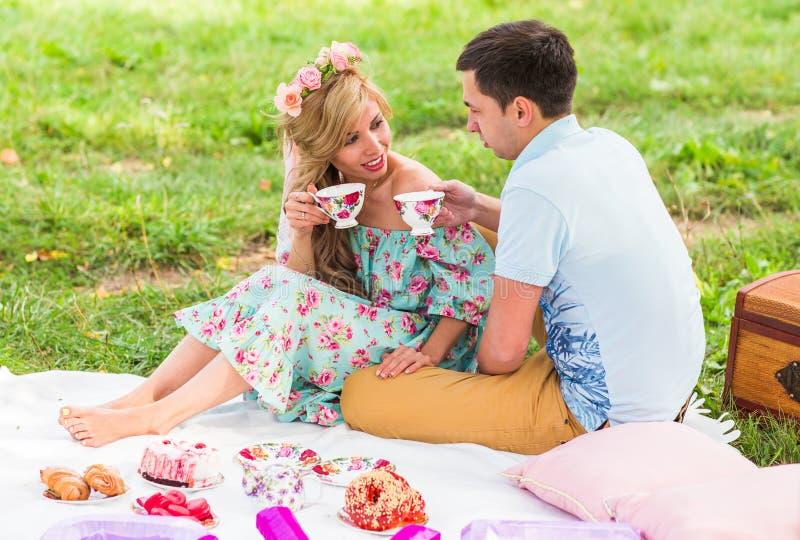 Mooi Jong Paar die Picknick in Platteland hebben Gelukkige familie openlucht Het glimlachende Man en Vrouwen ontspannen in Park stock fotografie