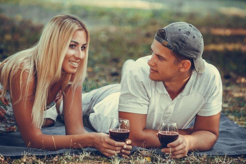 Mooi jong paar die rode wijn op een picknick in park drinken royalty-vrije stock fotografie