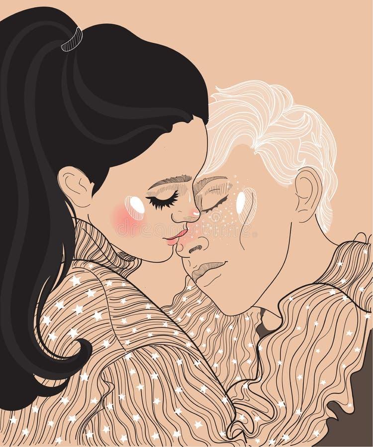 Mooi jong paarkerel en meisje, stock illustratie